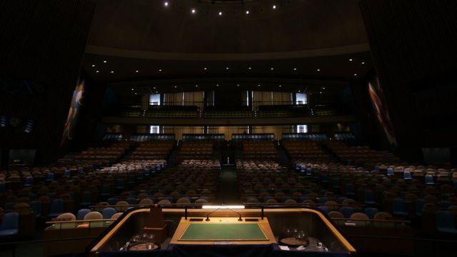 O hall da Assembleia Geral da ONU do ponto de vista do orador