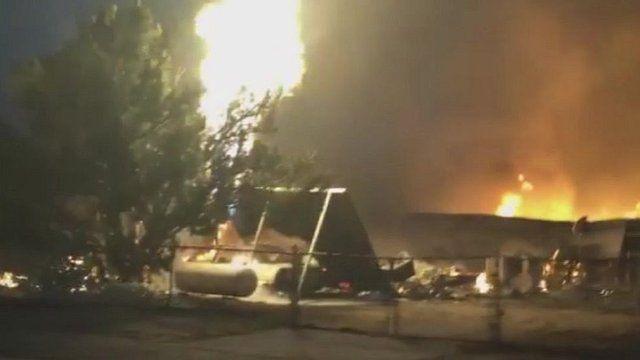 Erskine fire destroys buildings, California, US, 23 June 2016