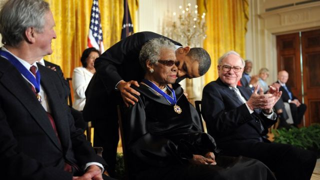 Maya Angelou with Barack Obama