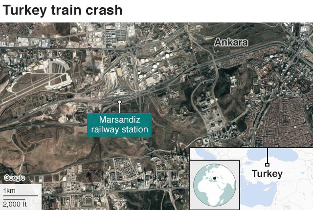 Map of Turkey train crash