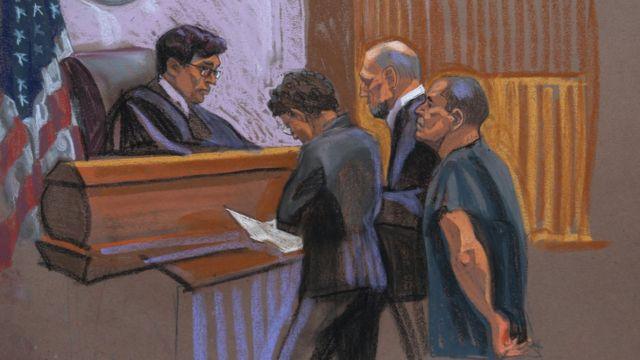 Dibujo de El Chapo dentro de la Corte.