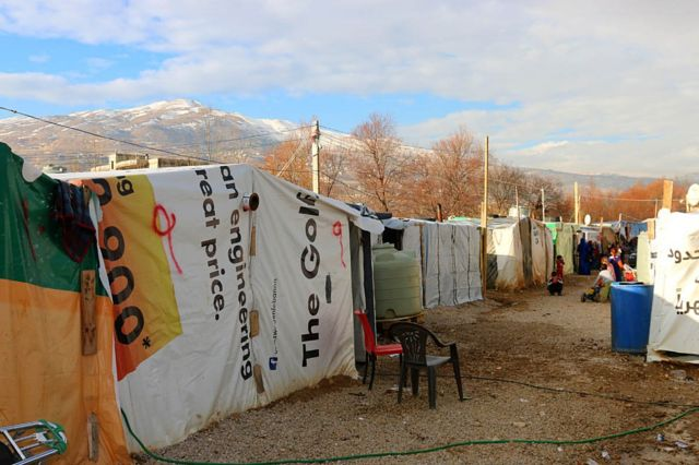 An informal Syrian refugee camp in Lebanon's Bekaa Valley, near the Syrian border