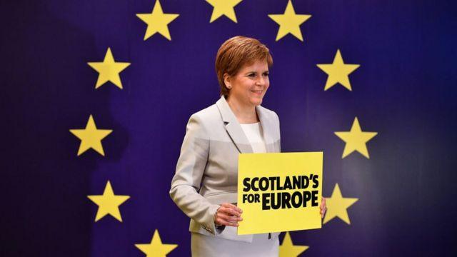 Никола Стерджен на фоне флага ЕС