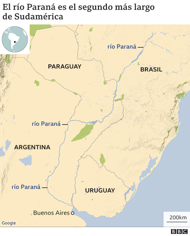 Mapa que muestra la ubicación del Rio Paraná