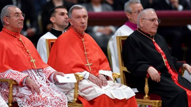 Cardinal Luis Ladaria (centre) of the Congregation for the Doctrine of the Faith signed the response