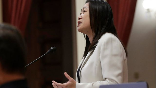 Sen. Janet Nguyen speaks before being removed from the senate floor in California