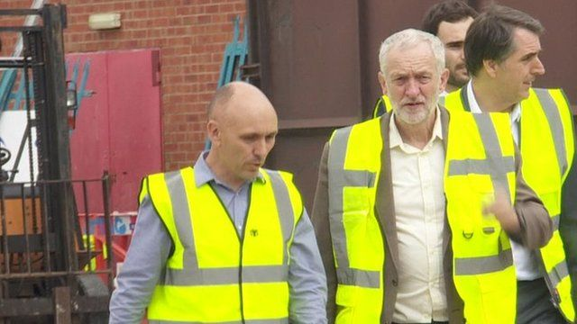 Jeremy Corbyn with Steve Rotheram and Labour members at Hutchinson's Engineering factory