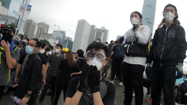Protesters in Hong Kong, 12 June