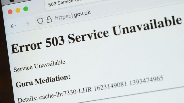 英國政府網站顯示「錯誤503」畫面(8/6/2021)