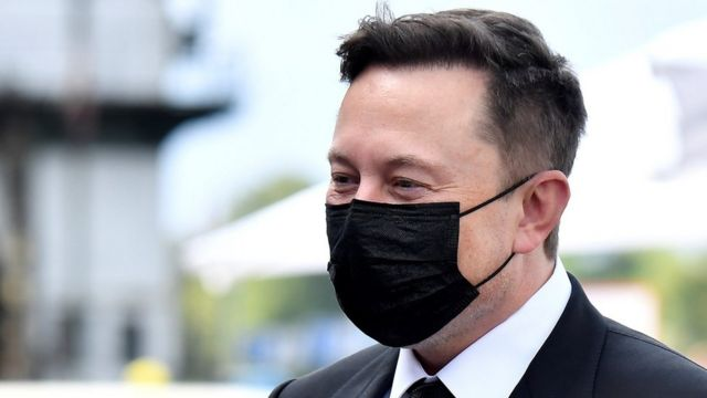 Elon Musk wears a mask as he arrives in Berlin, Germany, on 2 September 2020