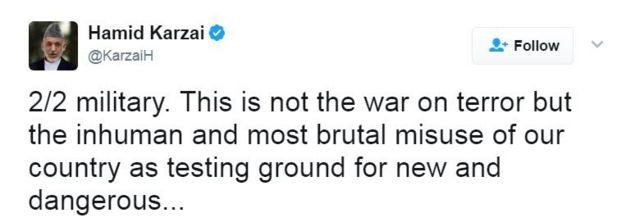 「これは対テロ戦争ではなく、新しく危険な武器の実験場として我々の国を非人道的、かつ残酷に悪用したものだ」とカルザイ氏は続けてツイートした。