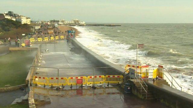 Southsea sea defence wall