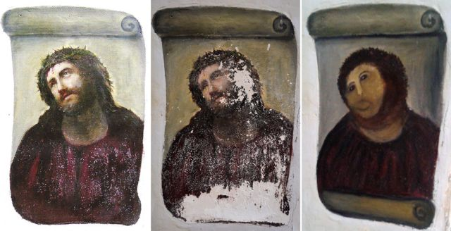 A combination of three documents provided by the Centre de Estudios Borjanos on August 22, 2012 shows the original version of the painting Ecce Homo (L) by 19th-century painter Elias Garcia Martinez, the deteriorated version (C) and the restored version by an elderly woman in Spain.