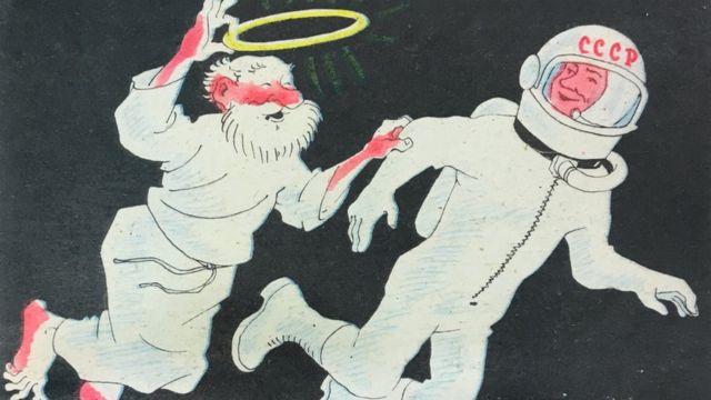 """""""Давай меняться: я тебе нимб, а ты мне шлем!"""" - гласит подпись к одному из приведенных в книге атеистических плакатов"""