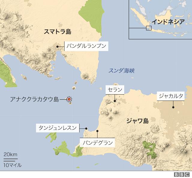 噴火したアナククラカタウ島は、スマトラ島とジャワ島の間にあるスンダ海峡に位置する