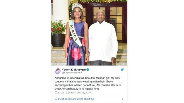 Shugaba Museveni tare da Sarauniyar Kyau Quinn Abenakyo