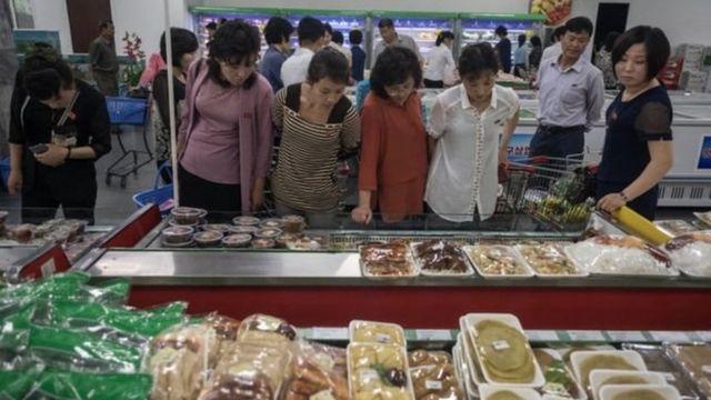 Un mercado en Pyongyang