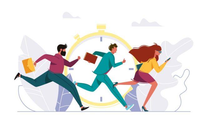 Ilustración de gente corriendo