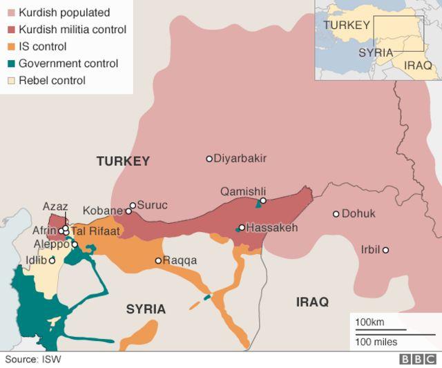 シリアとトルコの各勢力が支配する地域(緑:シリア政府、赤:クルド人武装勢力、黄白色:反政府勢力)