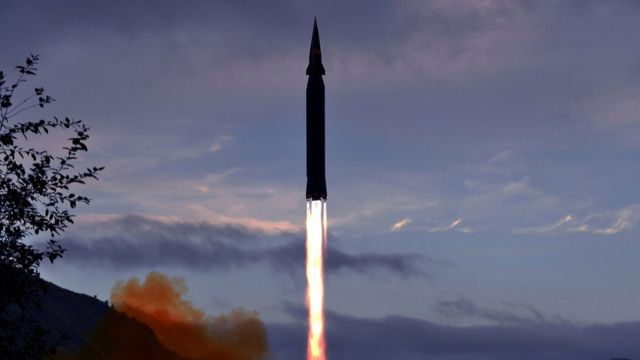 The Hwasong-8 missile firing into the sky in North Korea, according to state media