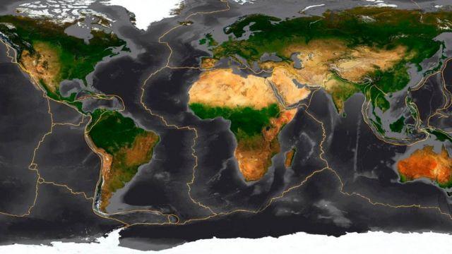 Un mapa que muestra las placas tectónicas en la Tierra