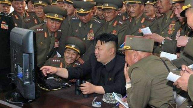 Kim Jong-un surrounded by officials