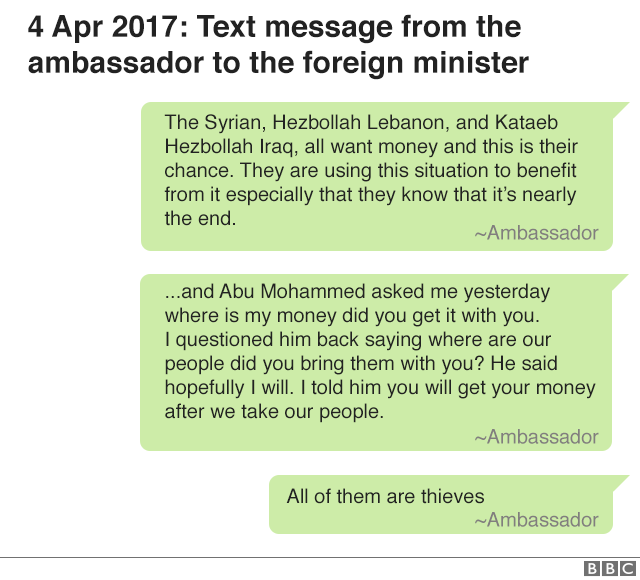 4 April 2017: text message from the ambassador to the foreign minister