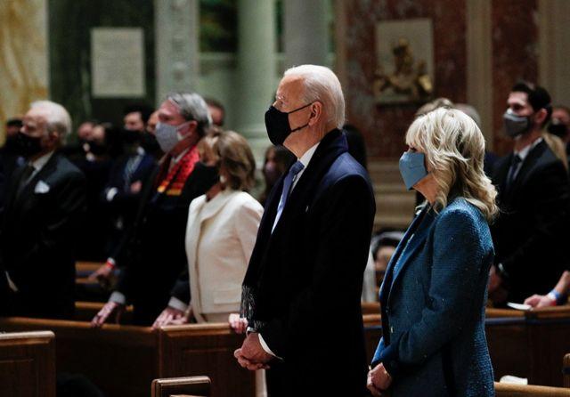 President-elect Joe Biden and his wife Jill Biden attend a church service