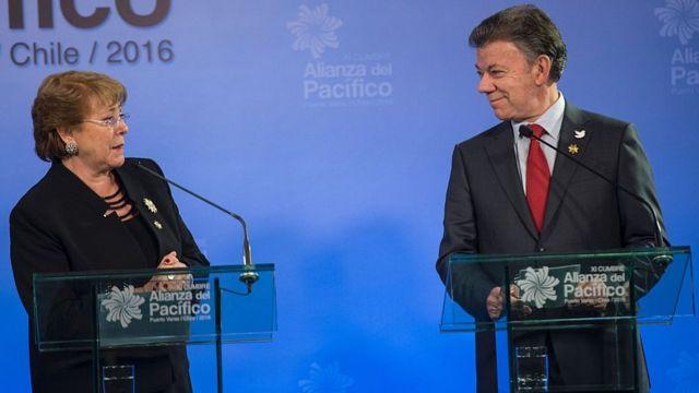 Presidentes de Chile y Colombia