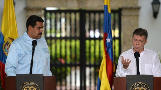Los presidentes de Venezuela, Nicolás Maduro (izquierda), y de Colombia, Juan Manuel Santos, en una imagen de archivo