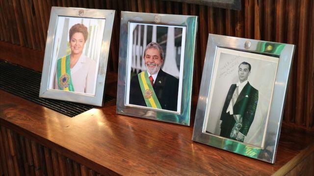 Retratos de Rousseff, Lula y Kubitschek.