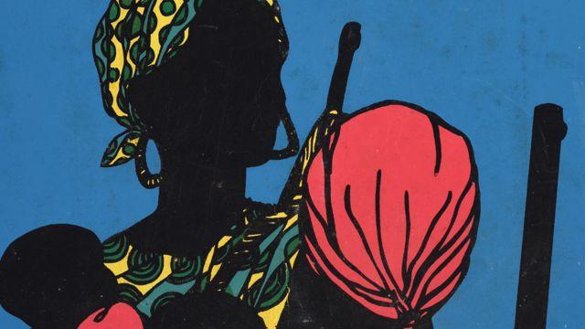 """Une affiche Ospaaal intitulée """"Après Emory Douglas"""", 1968 montrant des femmes portant un foulard avec des bébés et des armes à feu."""
