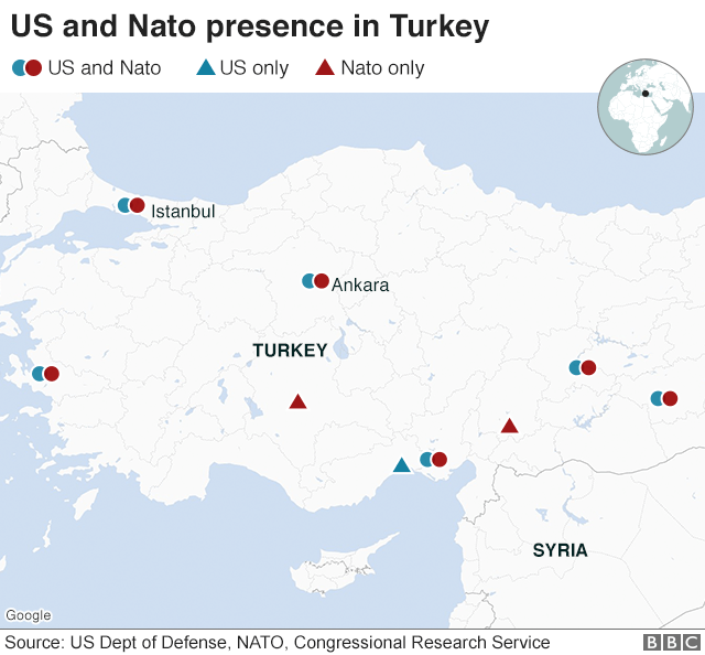 Map showing US and Nato bases in Turkey