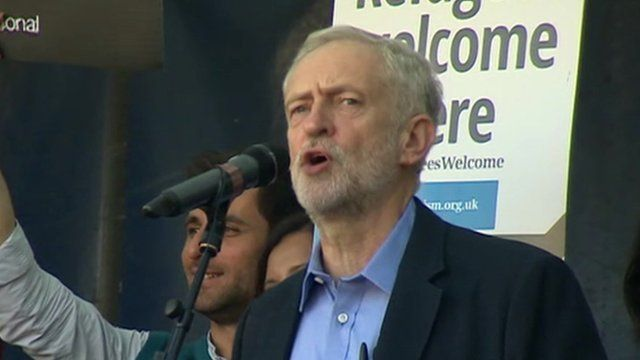 Jeremy Corbyn addresses Parliament Square refugee rally