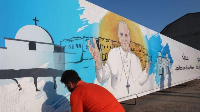 Dibujo del Papa en Irak.