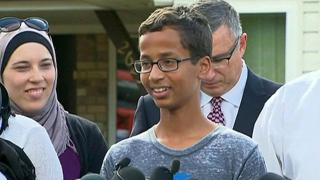 Ahmed Mohamed speaks to reporters