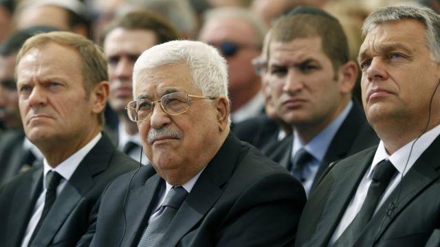 El presidente de la Autoridad Palestina Mahmud Abbas, el presidente del Consejo Europeo Donald Tusk, y el Presidente de Rumanía Klaus Iohannis.