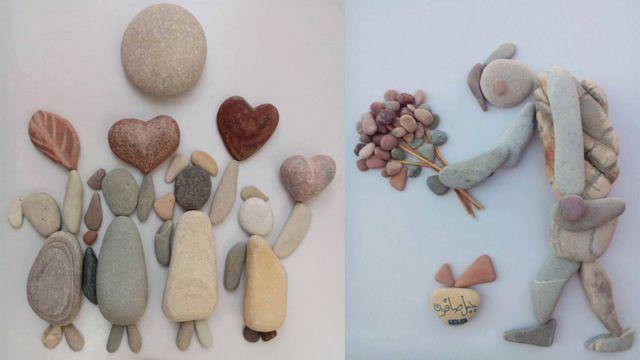 两幅鹅卵石艺术品