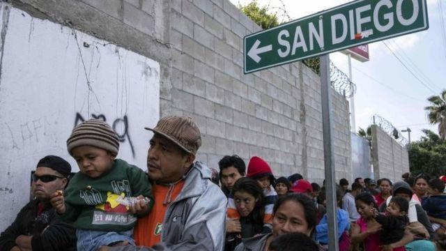 Migrantes de Centroamérica en Tijuana, México.