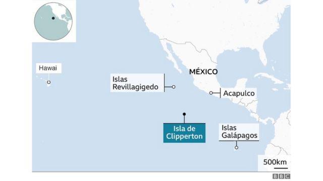 Mapa de la isla Clipperton