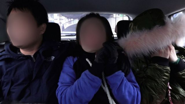After escaping from the apartment in Yanji, Mira (C) and Jiyun (R) travelled to a nearby safe house with a volunteer (L) from the charity, Durihana