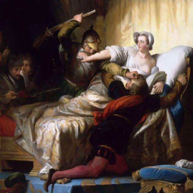 Scene in the bedroom of Margarita de Valois during the Massacre of San Bartolomeó
