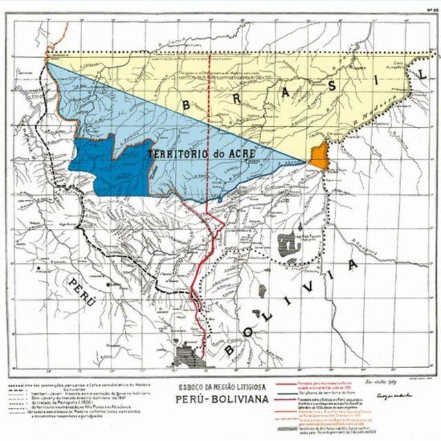 Mapa de do início do século 20 mostra área em disputa no Norte do país