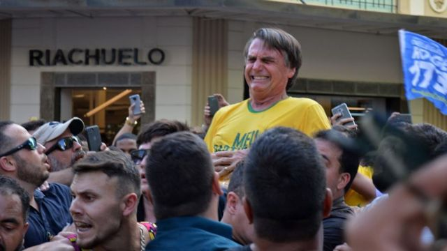 Jair Bolsonaro após facada em Minas Gerais