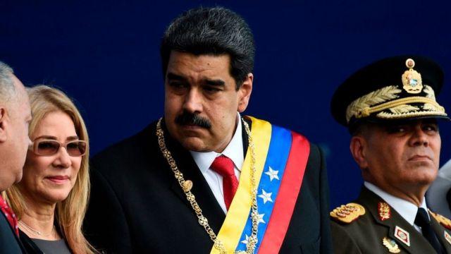 Maduro junto a su mujer, Cilia Flores, Diosdado Cabello, vicepresidente del PSUV y Vladimir Padrino, ministro de Defensa.