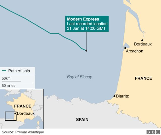 Modern Express ship 'successfully towed from French coast'
