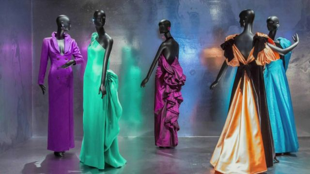Dresses by designer Jacqueline De Ribes on display at the Met