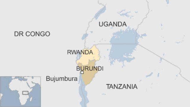 ブルンジと周辺国の地図