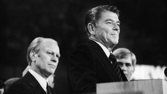 Gerald Ford y Ronald Reagan durante la convención