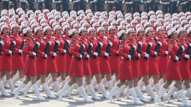 Chinese troops march during a military parade in Tiananmen Square in Beijing on October 1,